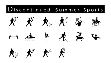 Illustration Collection of 16 Discontinued Summer Sport Icons on White Background. Vector