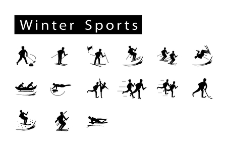Illustration Collection of 15 Winter Sport Icons on White Background. Vector