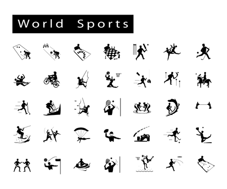 Illustration Collection of 35 World Sport Icons on White Background.