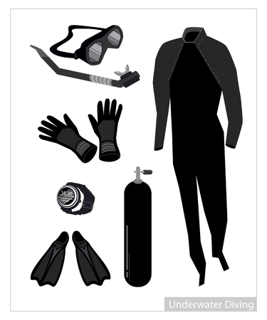 foot gear: Illustration Collection of Underwater Diving Equipment or Scuba Diving Equipment Isolated on White Background. Illustration