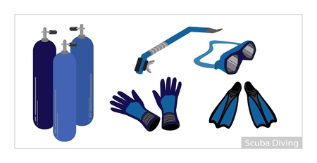 deepsea: Illustration Collection of Underwater Diving Equipment or Scuba Diving Equipment, Air Tank,  Gloves, Fins, Snorkel and Goggles Isolated on White Background. Illustration