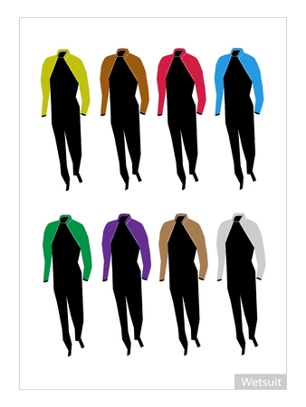 wetsuit: Illustration Collection of Eight Colors of Wetsuit or Diving Suit for Water Sports Isolated on White Background.