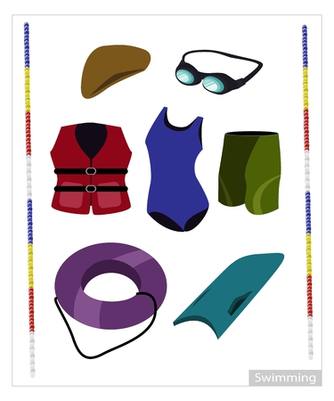 Illustration Collection of Swimming Accessory for Swimming Pool Isolated on White Background.