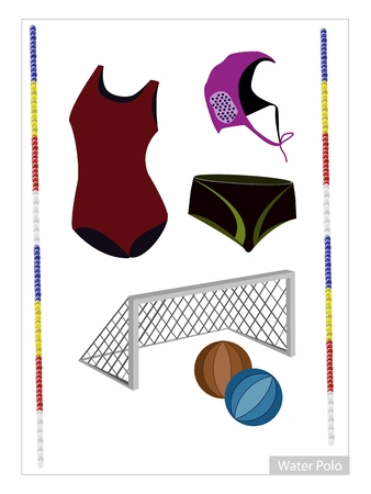 water polo: Illustration Collection of Water Polo Accessory and Equipment Isolated on White Background.