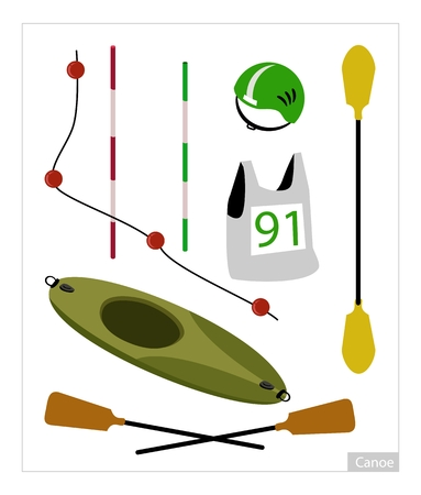 life jacket: Illustration Collection of Accessory and Equipment for Canoe or Kayak Sport Isolated on White Background.