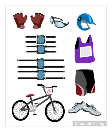 Illustration Collection of Mountain Bike Equipment and Accessory Isolated on White Background. Vector