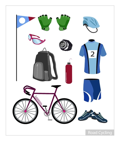 road cycling: Illustration Collection of Road Cycling Equipment and Accessory Isolated on White Background.