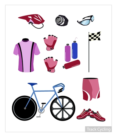 Illustration Collection of Track Cycling Equipment and Accessory Isolated on White Background. Vector