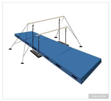 gymnastik: Illustration der Stufenbarren mit Gymnastikmatte für Berufs künstlerische gymnastische Herausforderung Isoliert auf weißem Hintergrund.