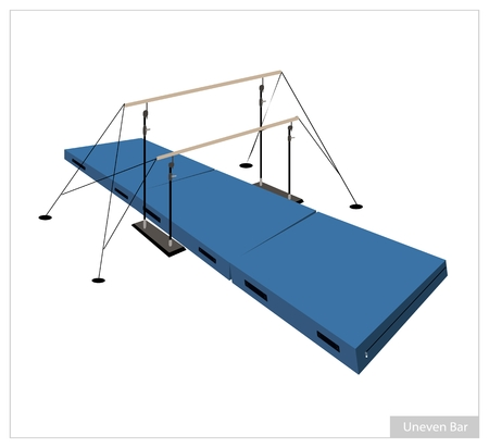 twin bed: Illustration of Uneven Bars with Gymnastics Mat for Professional Artistic Gymnastic Challenge Isolated on White Background.