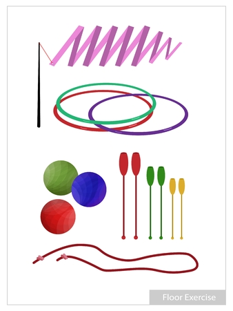 Illustration Collection of Rhythmic Gymnastic Equipments, Clubs, Ball, Hoop, Ribbon and Rope for Professional Artistic Gymnastic Challenge. Illustration