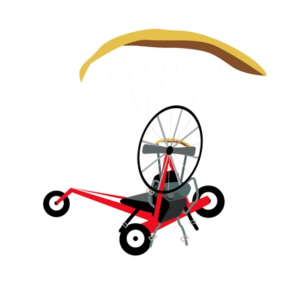 harness: Illustration of Powered Paraglider or Electric Paramotor Made of Motor, Propeller, Harness and Cage Isolated on White Background. Illustration