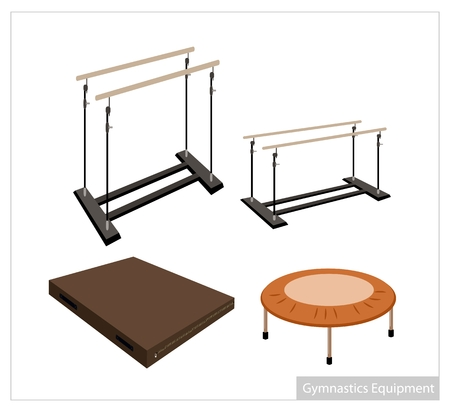 trampoline: Illustration Collection of Artistic Gymnastics Equipment Uneven Bars, Parallel Bars, Trampoline and Gymnastics Mat on White Background.