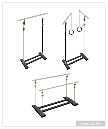 gymnastics equipment: Illustration Collection of Artistic Gymnastics Equipment Single Bar, Parallel Bars and Gymnastic Rings on White Background. Illustration