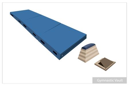 springplank: Illustratie van Voltige Horse, Gymnastiek Mat en Springplank voor professionele Artistieke Gymnastiek Challenge geïsoleerd op witte achtergrond. Stock Illustratie