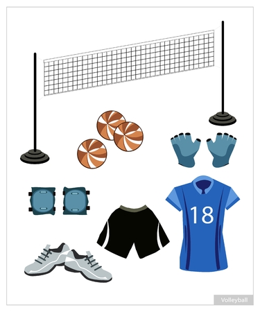 volleyball: Illustration Collection of Volleyball Accessory and Equipment, Leather Ball, Net, Wrist Protection, Shoe and Uniform Isolated on White Background.