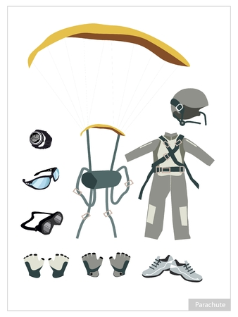 altimeter: Illustration Collection of Parachute or Skydiver Equipment and Accessory Isolated on White Background. Illustration