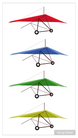 deslizamiento: Deporte A�reo, ilustraci�n Colecci�n de planeador de ca�da o deslizamiento Para aislada sobre fondo blanco.