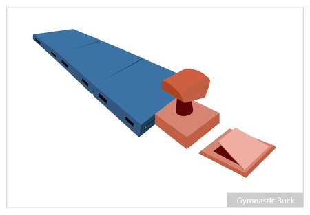 springboard: Illustration of Buck, Gymnastics Mat and Springboard for Professional Artistic Gymnastic Challenge Isolated on White Background.