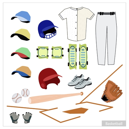 bat and ball: Illustration Collection of Baseball Accessory and Equipment, Bat, Ball, Knee Protectors, Shoes, Glove, Cap and Uniform.