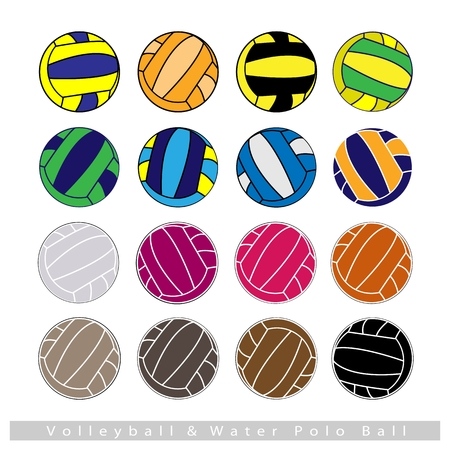 polo ball: Illustration Set of Multi-colored 16 Volleyballs or Water Polo Balls Isolated on White Background.