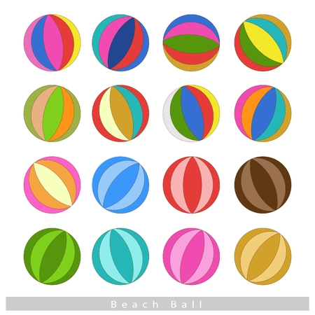 Illustration Collection of Multi-colored 16 Beach Balls Isolated on White Background. Vector