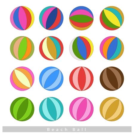 balon de voley: Ilustración Colección de varios colores-16 pelotas de playa aislada sobre fondo blanco.