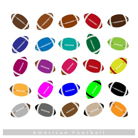pumped: Illustration Collection of 25 Assorted Color American Footballs Isolated on White Background.
