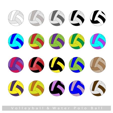 waterpolo: Illustratie verzameling van multi-gekleurde 16 Volleyballen of Waterpolo geïsoleerd op witte achtergrond.