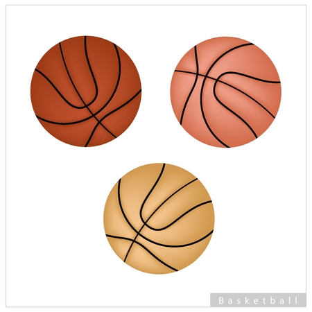 Sports and Fitness symbol, Illustration Collection of Basketball Ball Isolated on A White Background. Vector