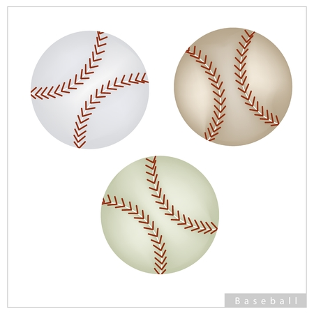 fastball: Sports and Fitness symbol, Illustration Collection of Baseball Ball Isolated on A White Background.
