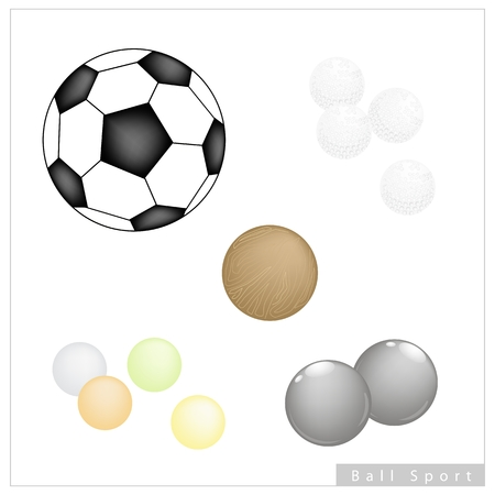 bocce: Sport Items, Illustration Collection of 5 Assorted Balls, Football, Golf, Bocce Ball, Pong Ping Ball and Polo Ball Isolated on White Background.