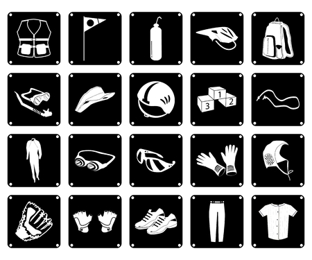 lifejacket: Illustration Set of 20 Assorted Icon of Sport Accessories and Sport Items in Black and White Colors.