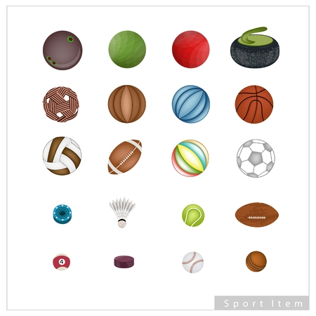 Illustration Set of 20 Assorted Sport Balls and Sport Items Isolated on A White Background. Vector