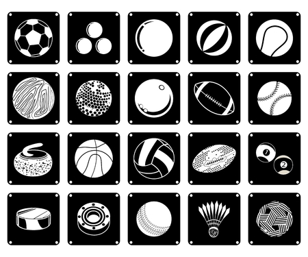 Illustration Set of 20 Assorted Icon of Sport Balls and Sport Items in Black and White Colors. Vector