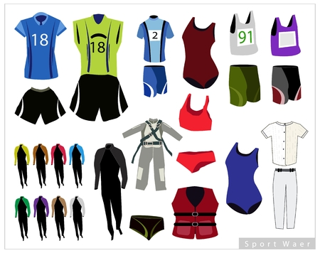 two piece swimsuits: Illustration Collection of Sports Wears and Sport Uniforms Isolated on White Background.