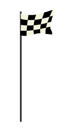 Sport Concept, Illustration of A Black and White Checkered Race Flags Waving in The Wind Isolated on White Background. Vector