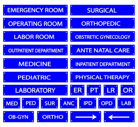 er: Illustration Collection of Blue Hospital Signs and Medical Abbreviations of Different Departments at A Hospital.