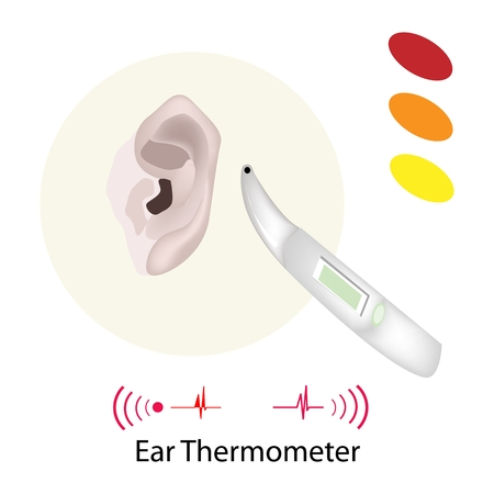 body temperature: Illustration of Doctor Using Ear Thermometer for Measuring Body Temperature Isolated on A White Background.