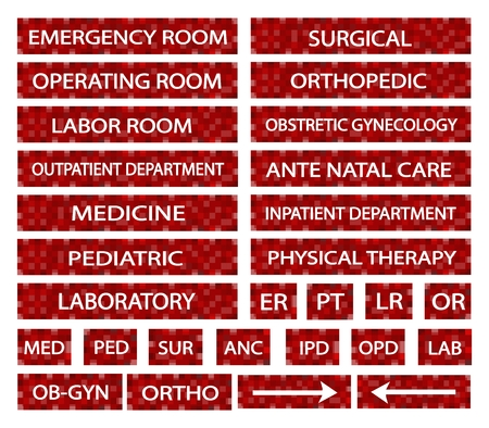 er: Illustration Collection of Hospital Signs and Medical Abbreviations of Different Departments at A Hospital in Red Labels. Illustration