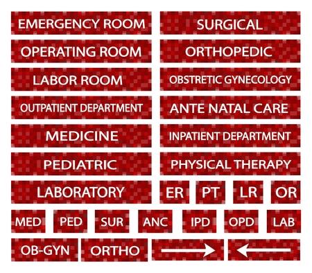 病院標識と赤ラベルの病院でさまざまな部門の医療略語のイラスト集。
