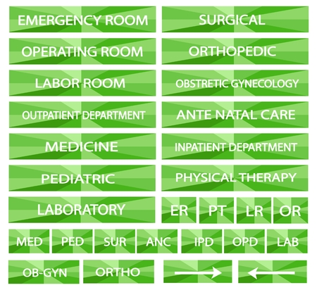 surgical department: Illustration Collection of Green Hospital Signs and Medical Abbreviations of Different Departments at A Hospital.