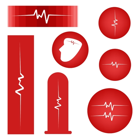 blood pressure monitor: Illustration Collection of Assorted Cardiogram Banners or Heartbeat Labels on Red Background.