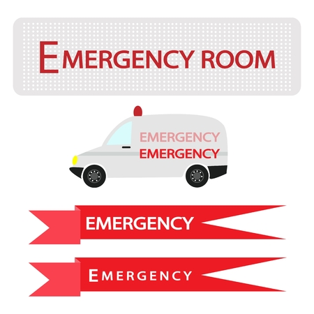 er: Medical Concept, Illustration of Ambulance with Emergency Label Isolated on White Background. Illustration