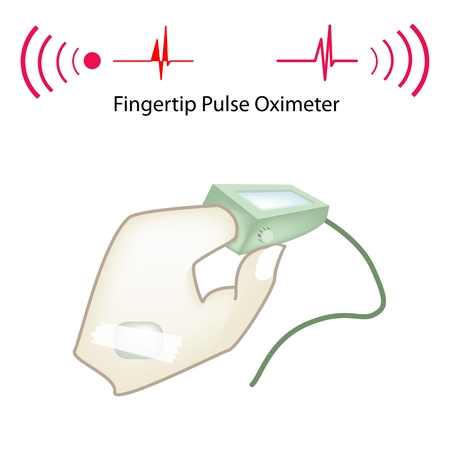 saturation: Illustration of Doctor Using Pulse Oximeter to Examine Patient Pulse Rate and Blood-Oxygen Saturation Levels.