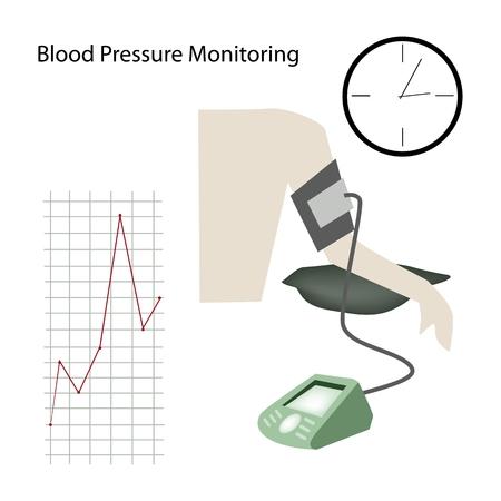 doctoral: Illustration of Doctor Using Blood Pressure or Sphygmomanometer for Measuring Arterial Pressure. Illustration