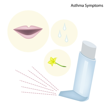 inhaler: The Asthma Symptoms Patient with Asthma Inhaler Illustration