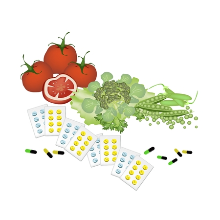 garden peas: Medical Concept, Vitamine Capsules with Tomatoes, Broccoli and Garden Peas Isolated on A White Background. Illustration