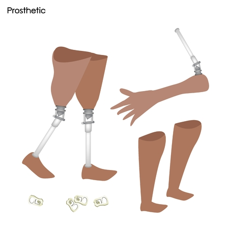 Medical Concept, Illustration Collection of Prosthetic Leg, Knee and Arm, Artificial Device That Replaces A missing Body Part.