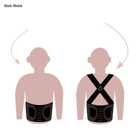 back belt: Medical Concept, Illustration of Back Brace or Lumbar Braces Used to Treat Spine Problems.